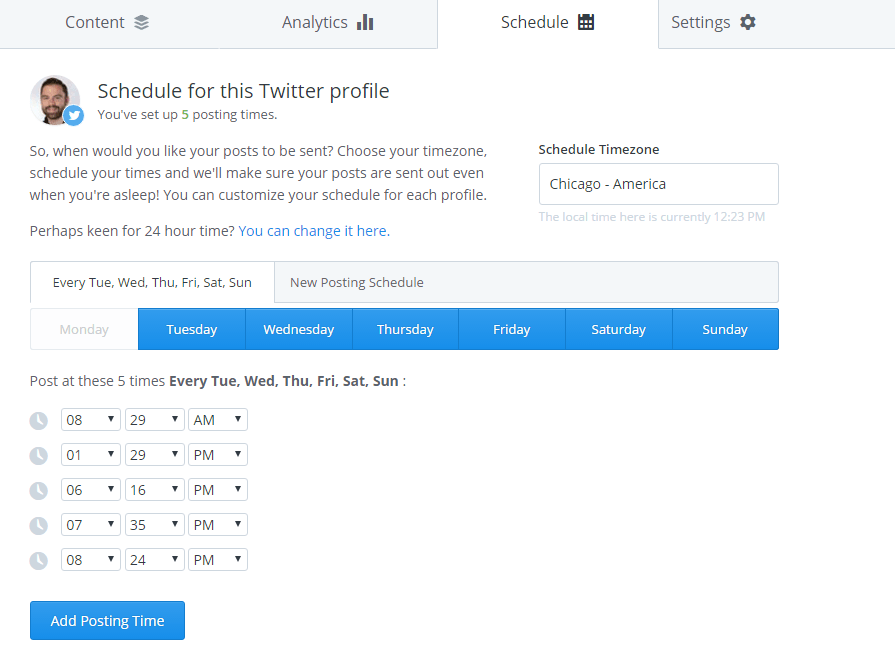 posting schedule in Buffer