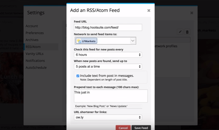 Setting up a Hootsuite RSS