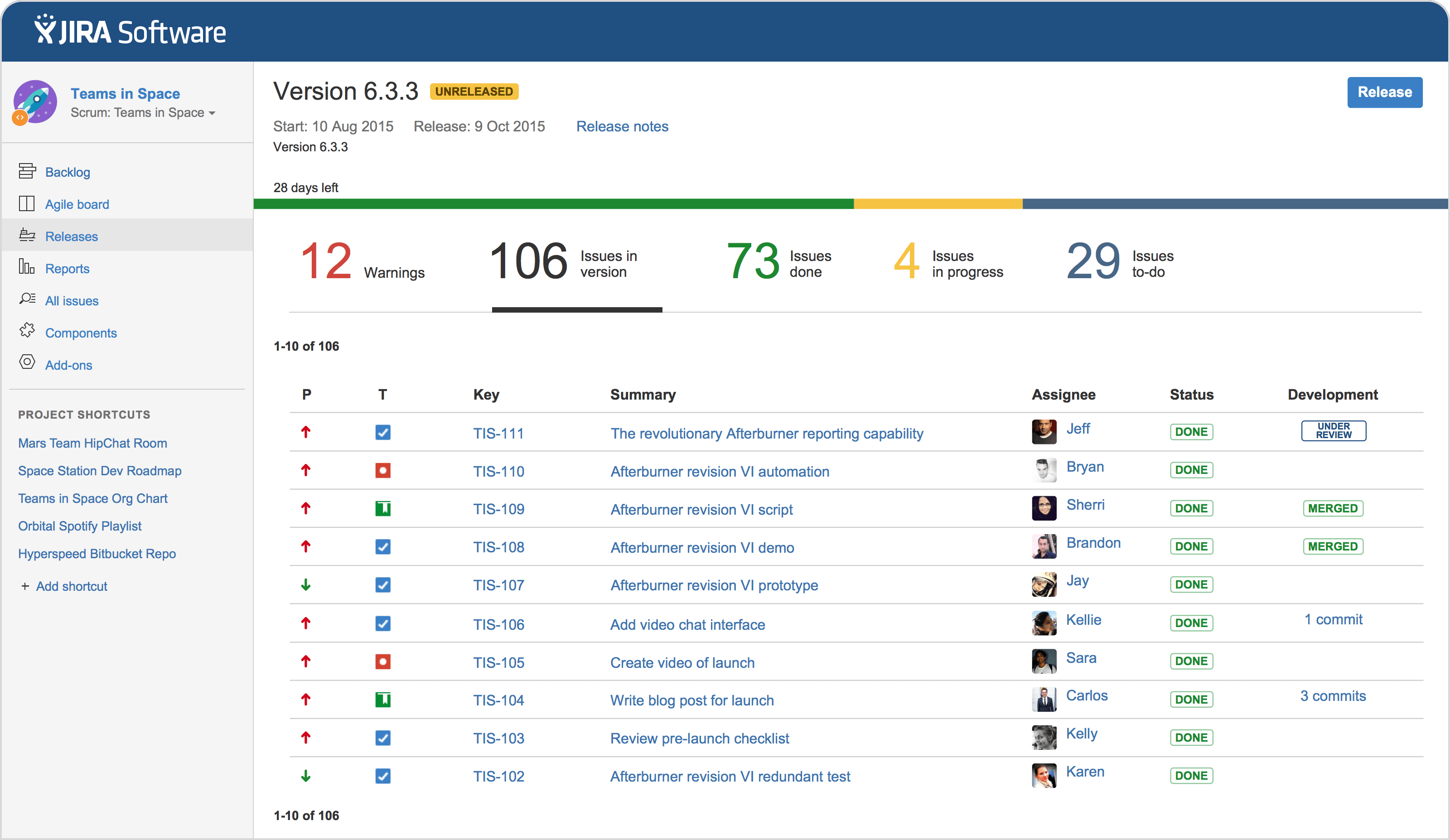 JIRA's release planning dashboard.