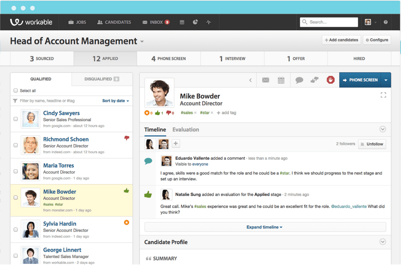 workable recruiting platform screenshot