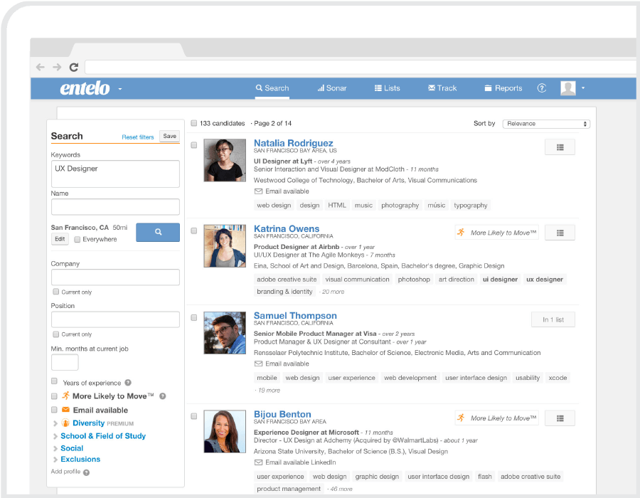 entelo recruiting platform screenshot search