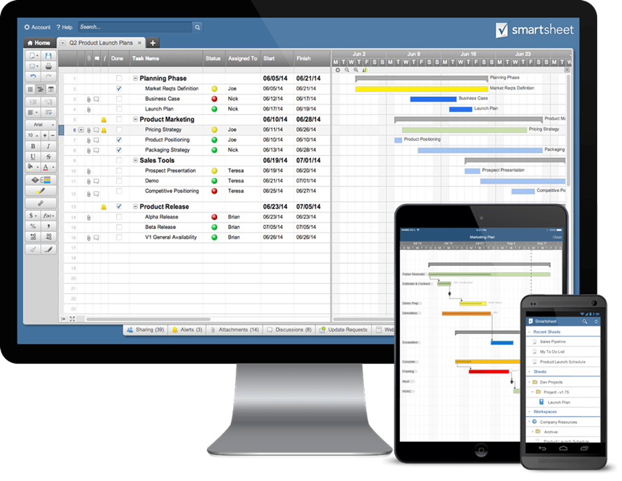smartsheet screenshot, basecamp alternatives
