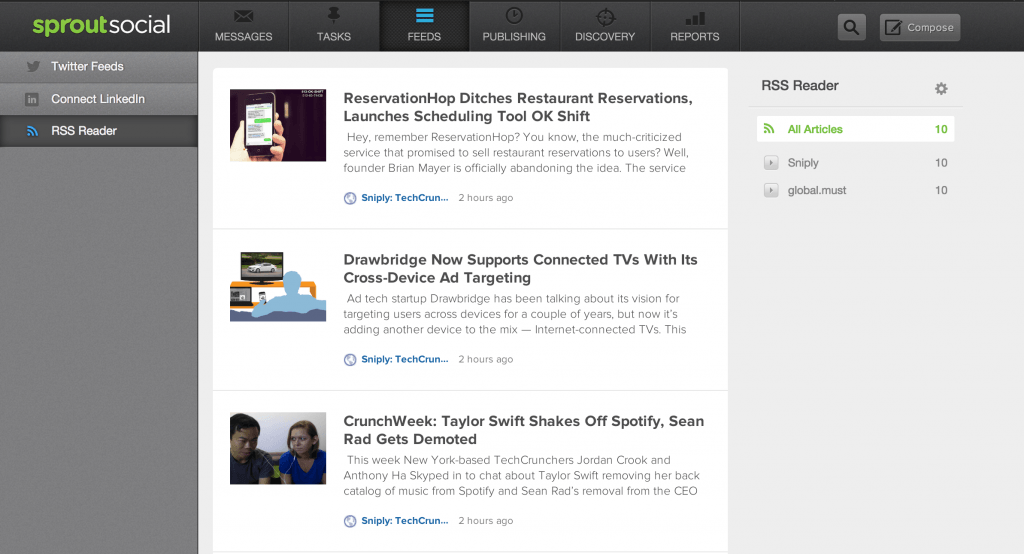 Screenshot of the Feeds view in Sprout Social.