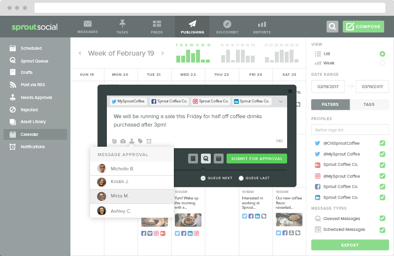 Screenshot of the Publishing view in Sprout Social.