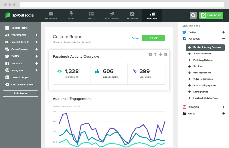 Screenshot of the Reports screen in Sprout Social.