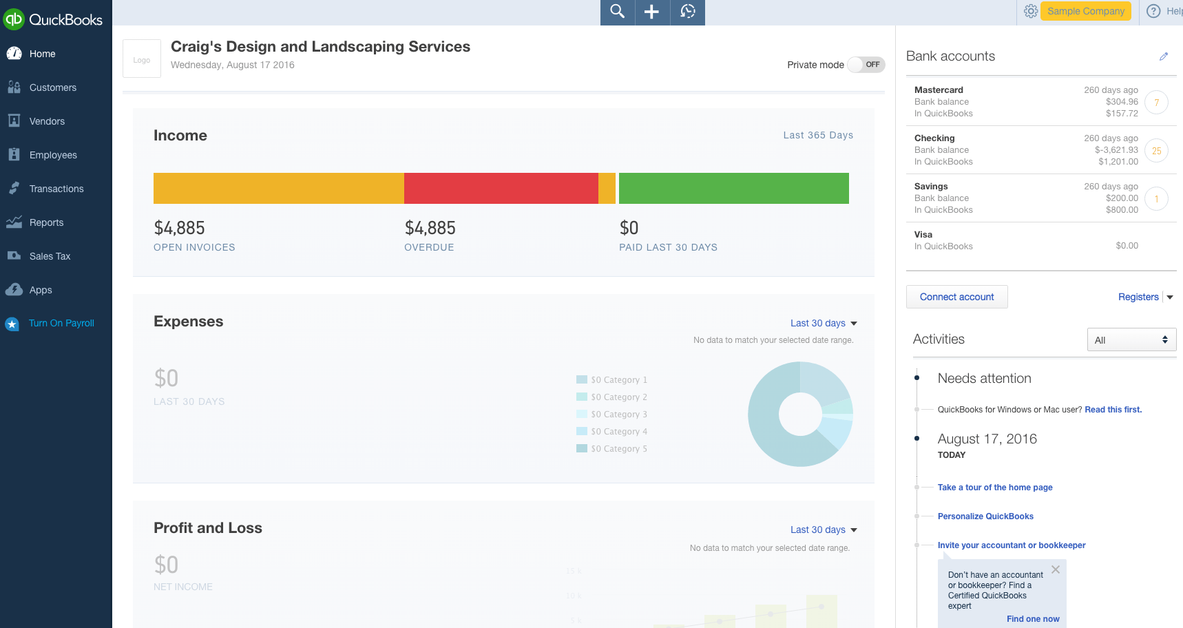 QuickBooks dashboard screenshot