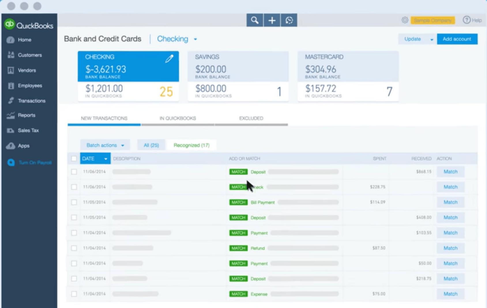 QuickBooks' bank account synchronization screen.