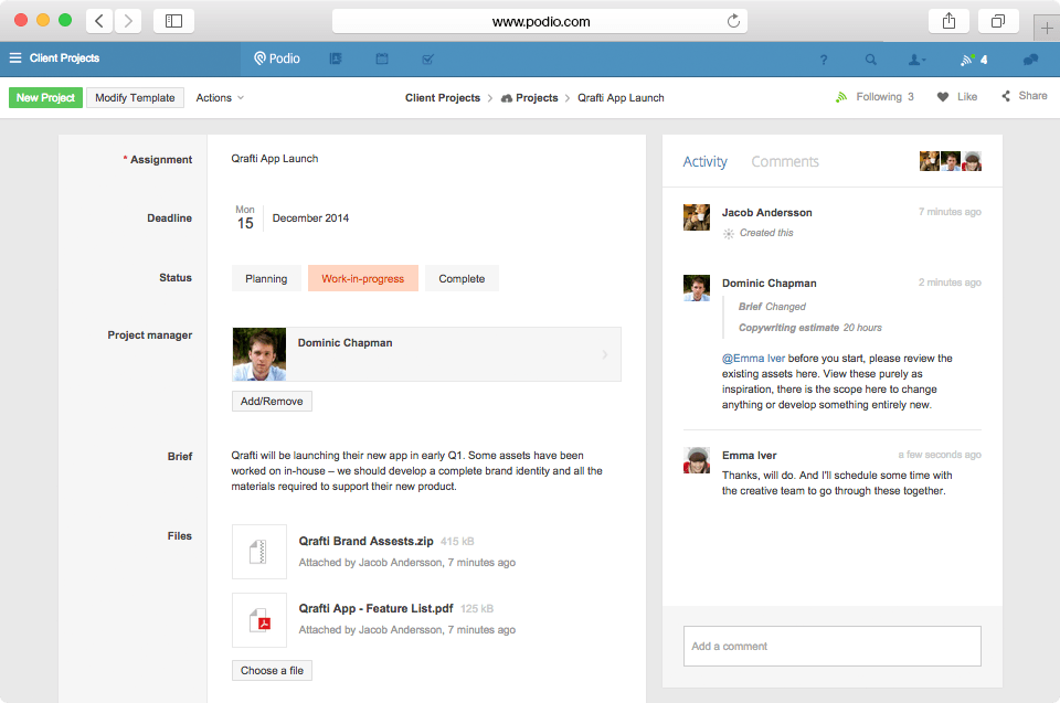 asana alternatives: podio-screenshot