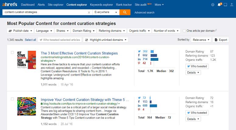 Ahrefs content analytics dashboard
