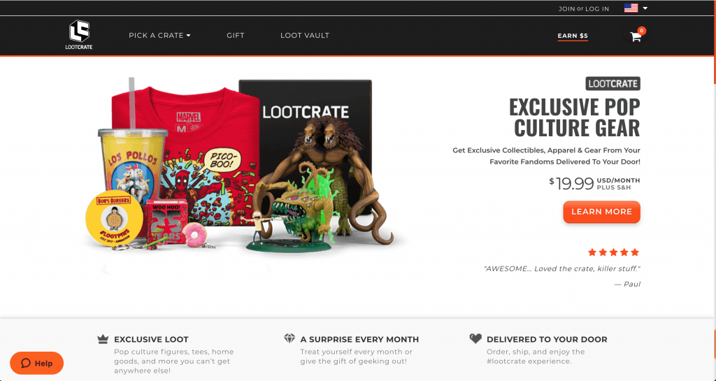 Screenshot of Loot Crate website showing merch from Bob's Burgers, Marvel comics, and Breaking Bad, among others.