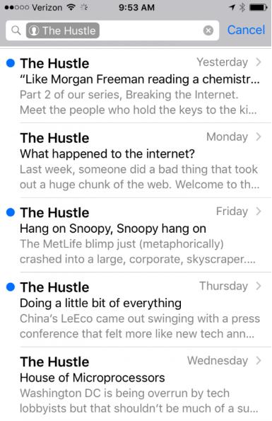 The Hustle has experienced rapid growth using creative headlines.