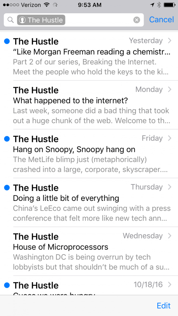 The Hustle has experienced rapid growth using creative headlines