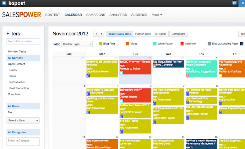 Example of a content calendar in Kapost.