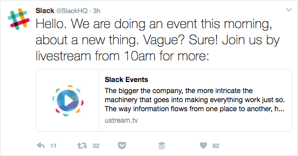 Slack Enterprise Grid Twitter Announcement
