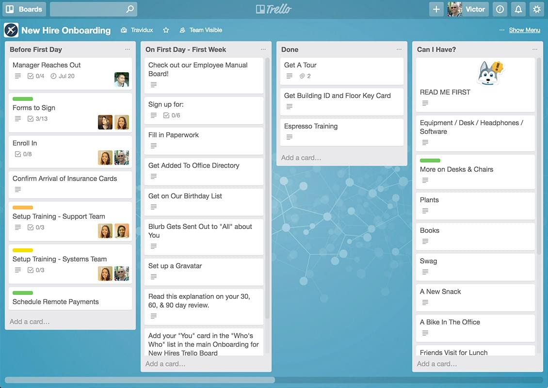 a trello HR project management board.