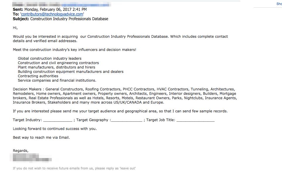 construction database email