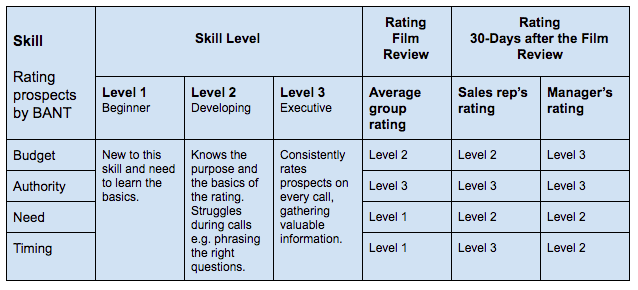 skill development rubric for sales