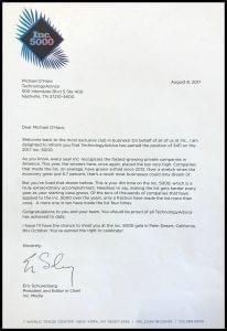 Inc5000 congratulations letter