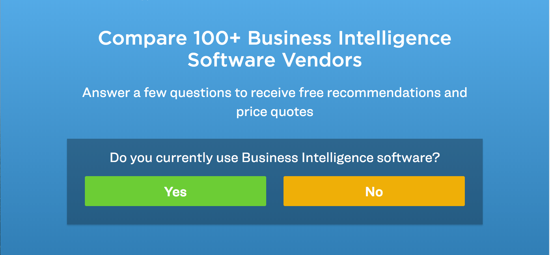 get the best BI software for your business using this tool.