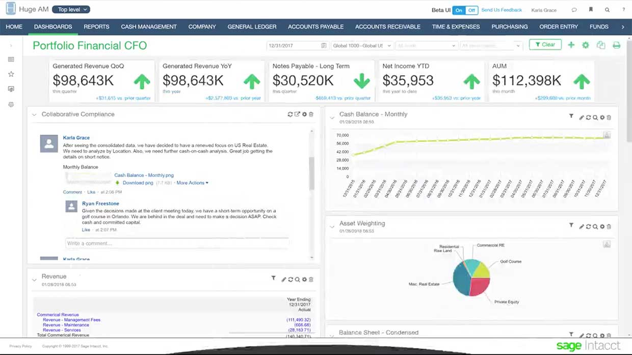 intacct dashboard accounts