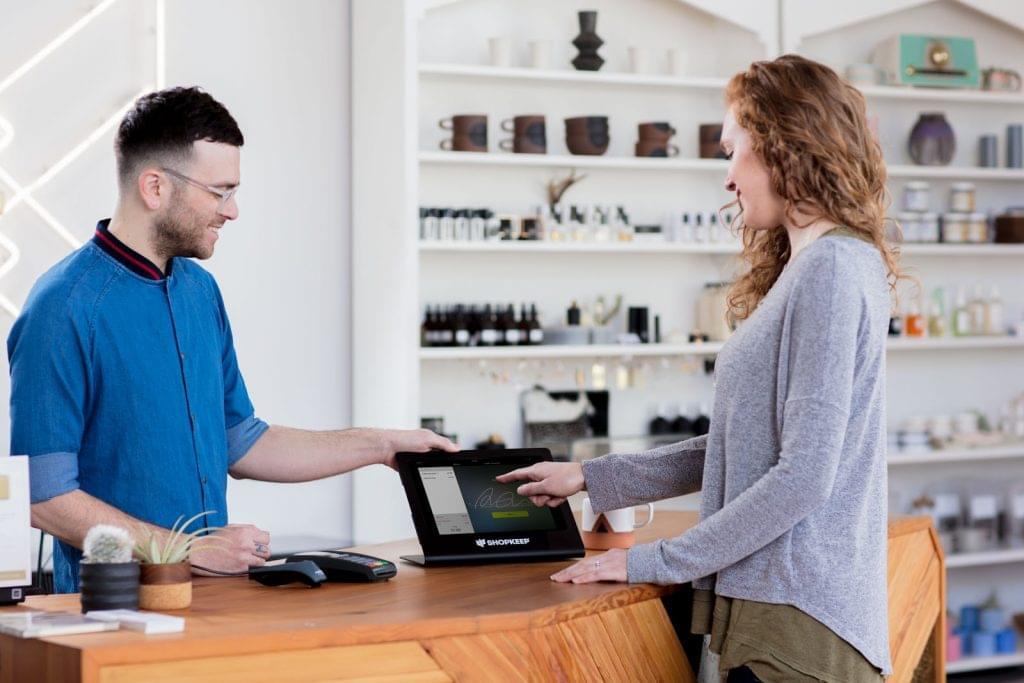 Merchant using ShopKeep iPad pos for retail