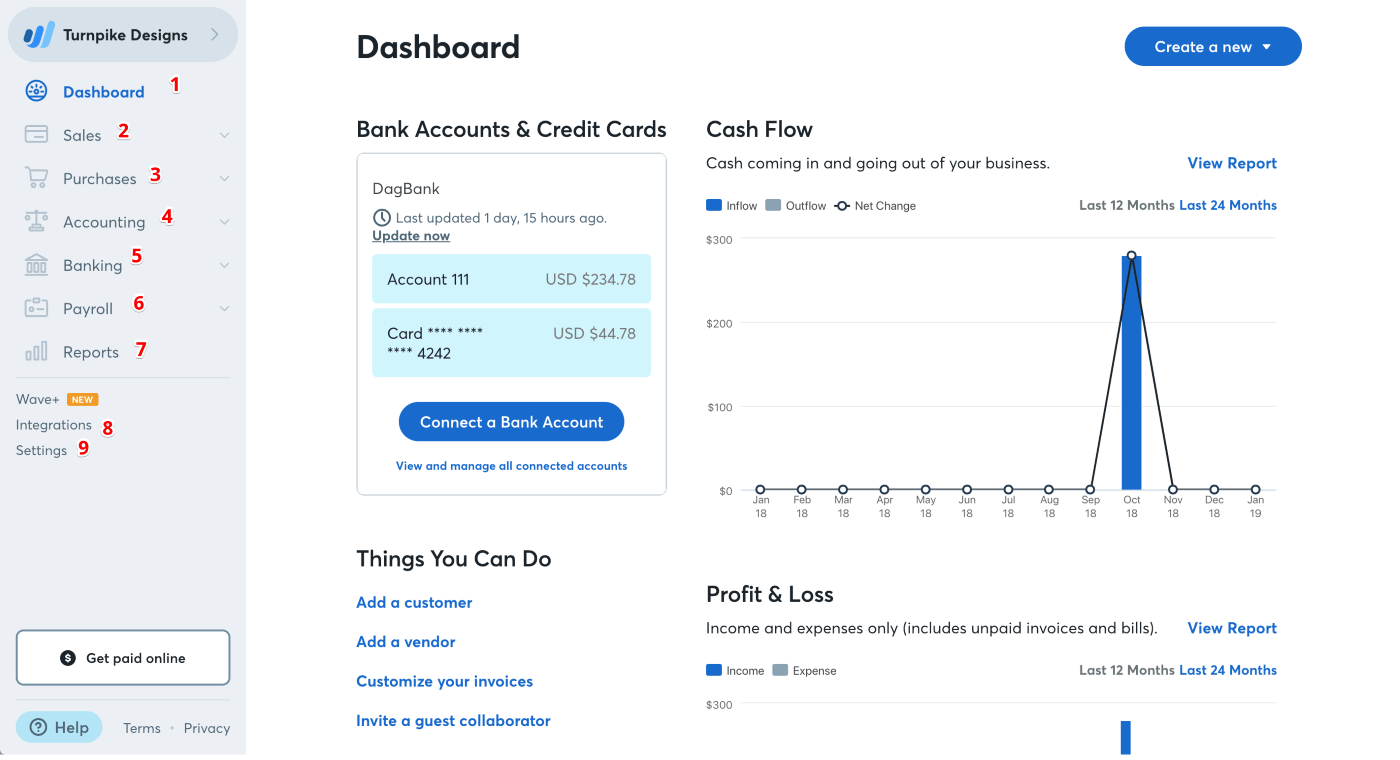 Wave dashboard on desktop