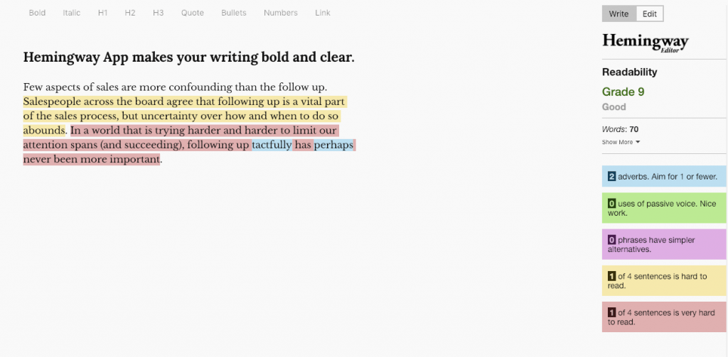 The Hemingway app analyses our writing for readability and suggests changes