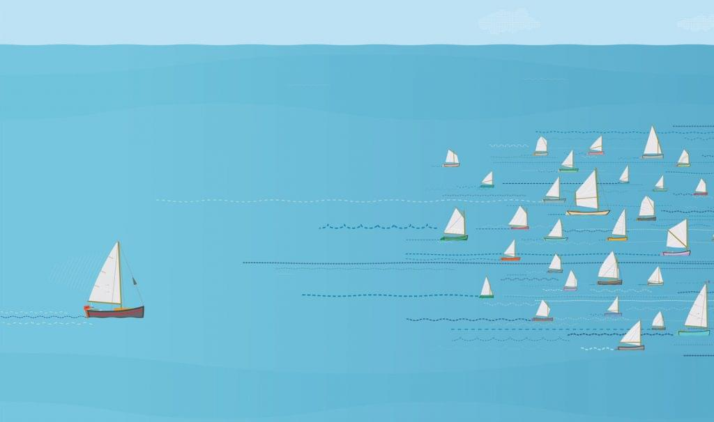 Sailboat in last place in a sailboat race