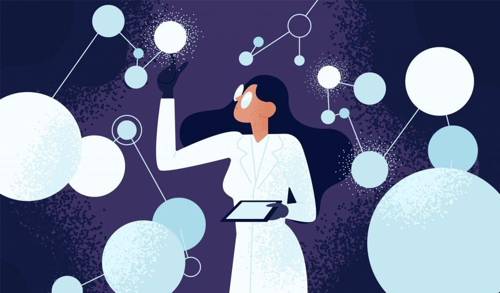 Cartoon female scientist holding a tablet examines neural networks