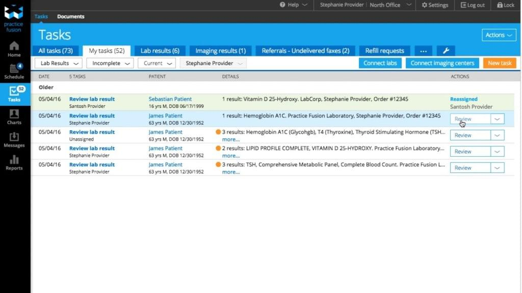 PracticeFusion practice management software showing tasks to do