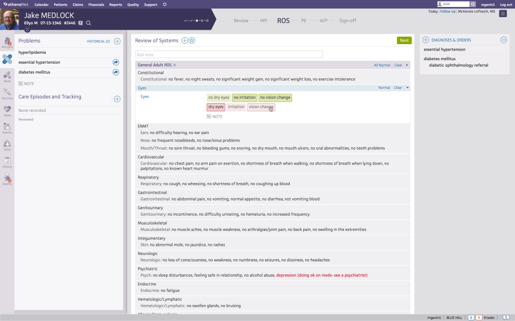 Screenshot of athenahealth practice management software showing patient notes