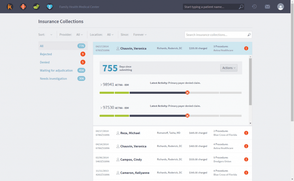 Screenshot of Kareo practice management software showing insurance collections status