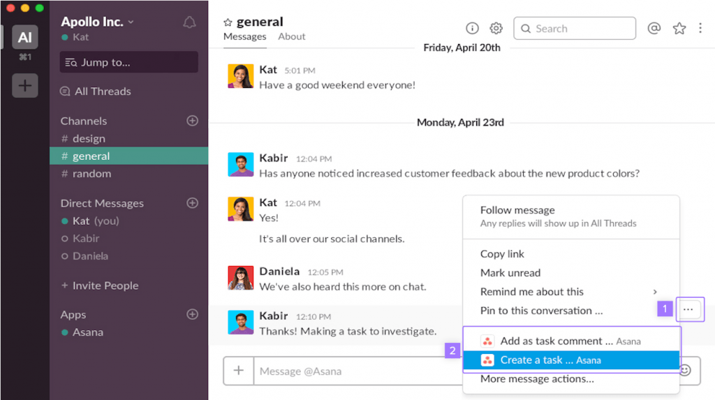 Creating a new Asana project using a popular integration, Slack.