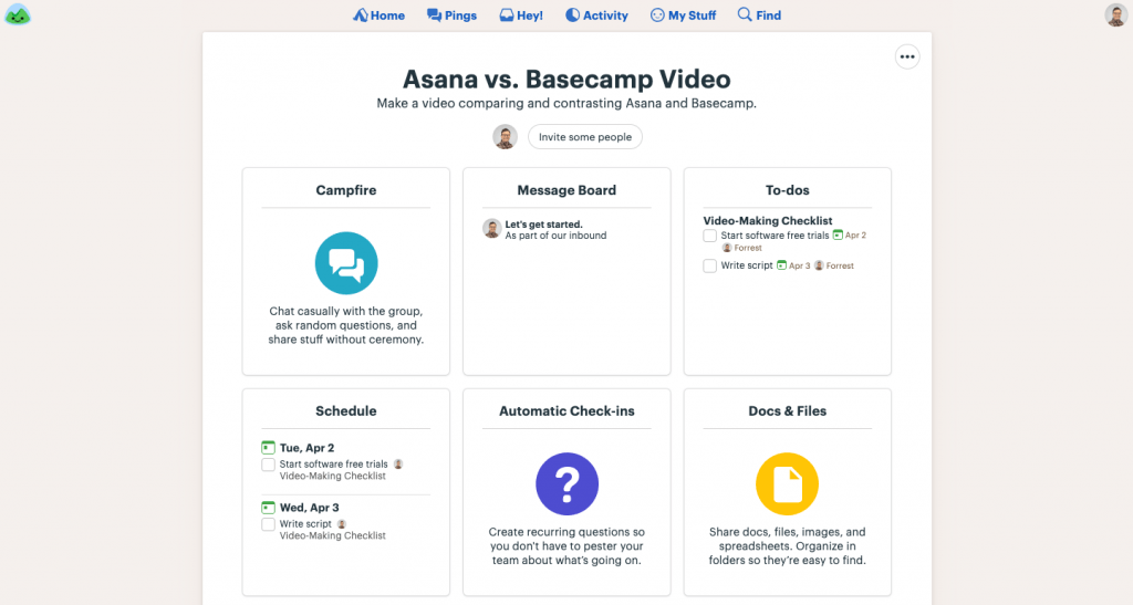 Creating a project in Basecamp allows you to message users, post updates, add to-do lists, and more.
