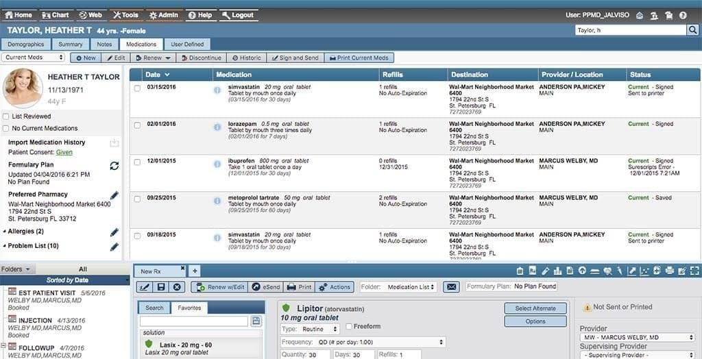 Screenshot of AdvancedMD showing a patient's medication history, refills, destination, provider/location, and status.