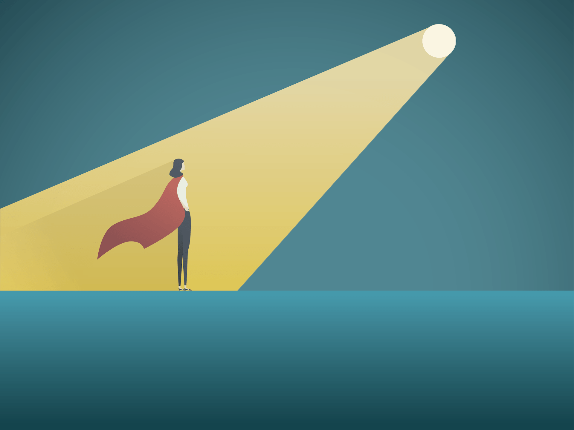 Businesswoman wearing a cape standing in a spotlight