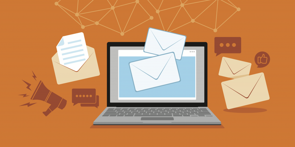 Illustration of a laptop computer sending emails against an orange backdrop