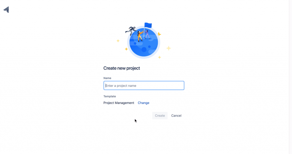 "Clicking ""create new project"" in JIRA prompts you to name the project and choose a template"
