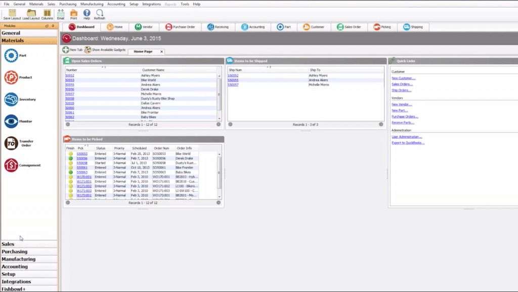 Screenshot of Fishbowl Manufacturing