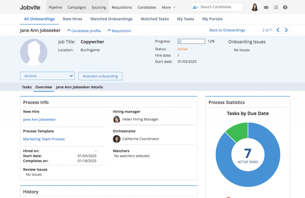 Screenshot of Jobvite onboarding dashboard for a new copywriter