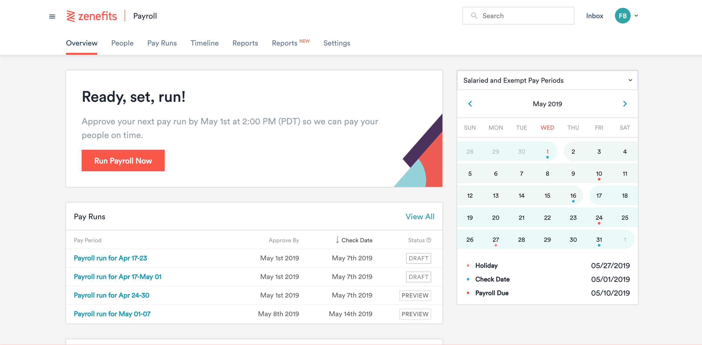 Screenshot of the payroll feature in Zenefits