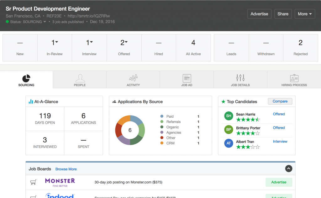 Screenshot of SmartRecruiters candidate view of a senior product development engineer