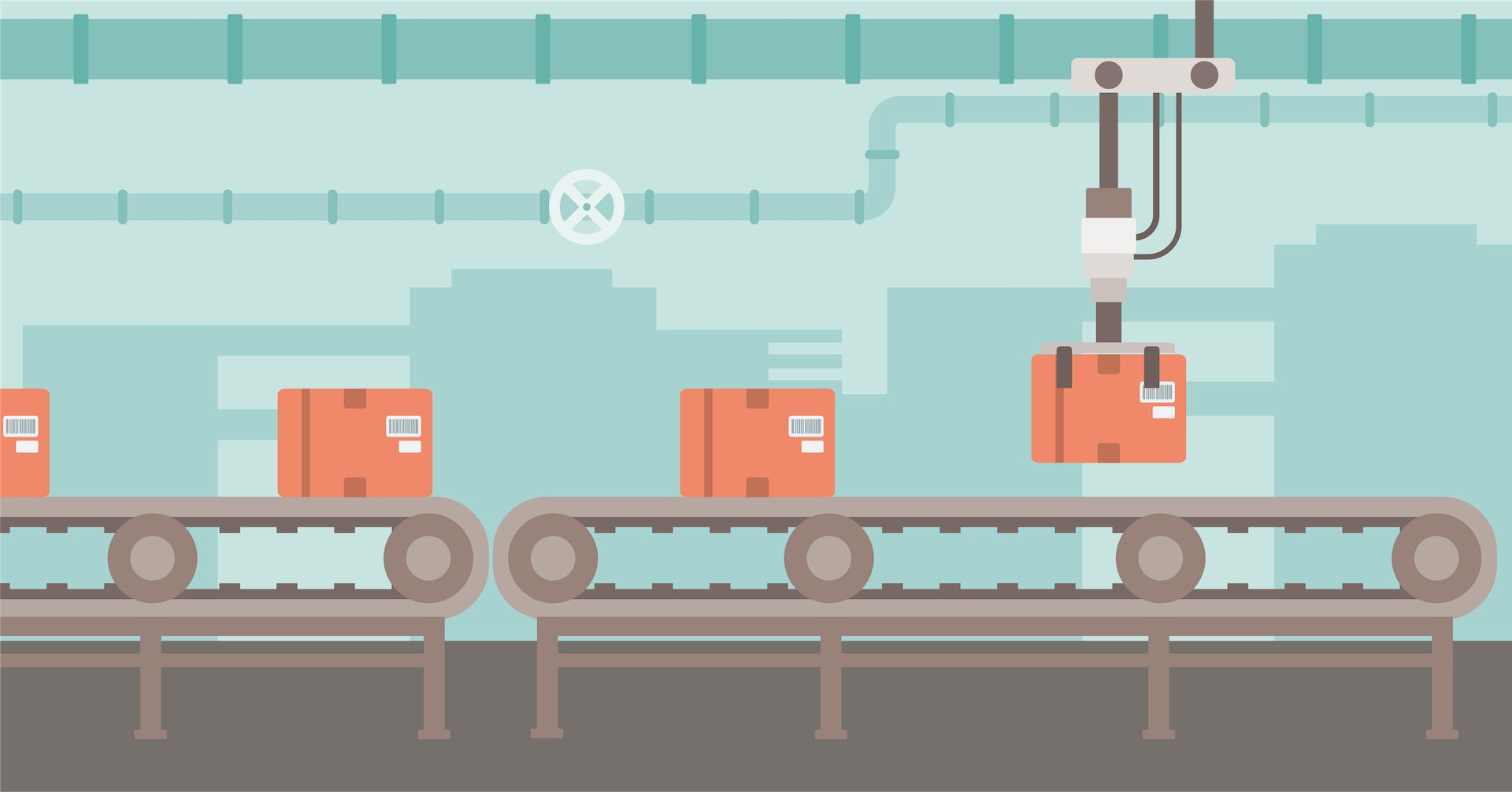 Illustration of boxes moving along a conveyor belt on a factory floor