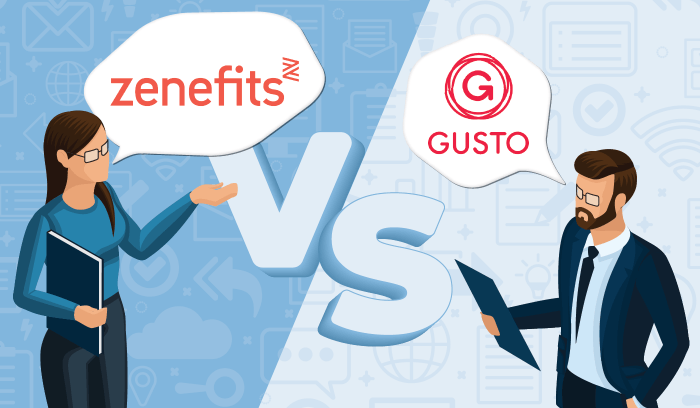 Graphic showing a man and a woman debating over Zenefits and Gusto