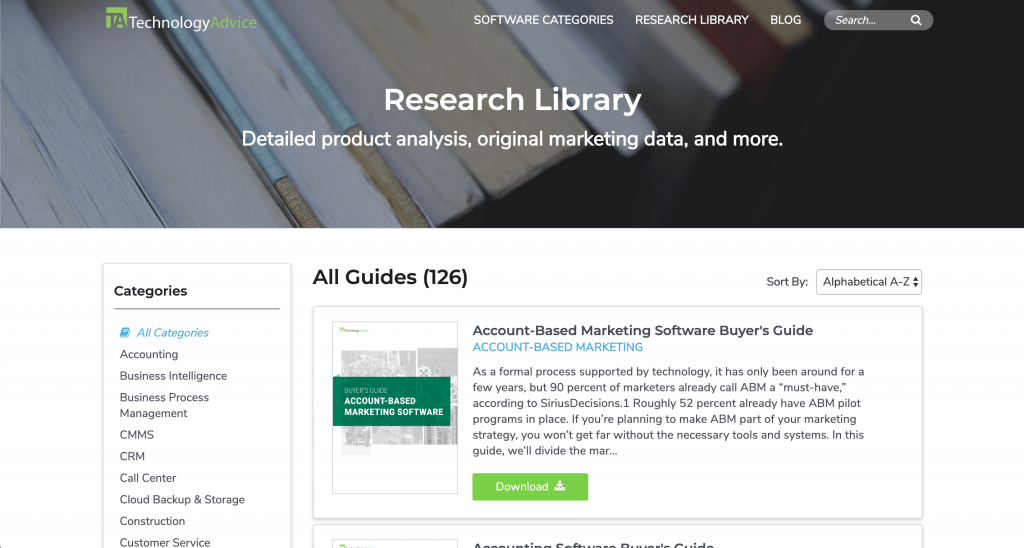 Screenshot of the Buyer's Guides page from our website.