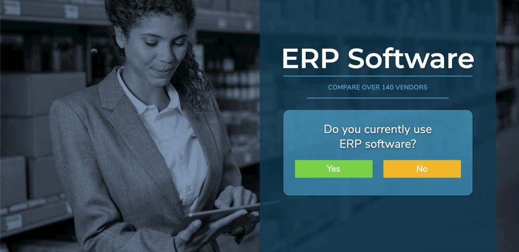 "Banner with the text ""ERP Software"" showing a woman using a tablet at work."