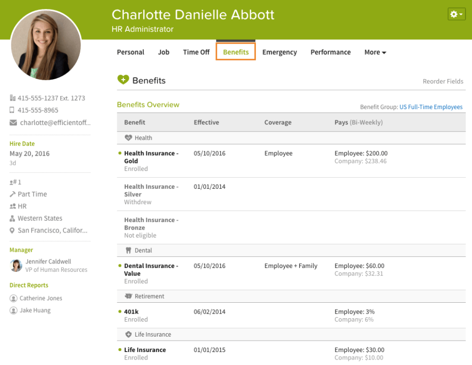 Screenshot of benefits management in BambooHR.