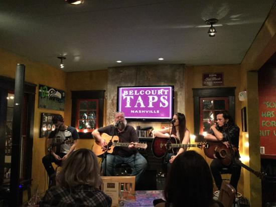 Photo of a songwriters round at Belcourt Taps in Nashville.