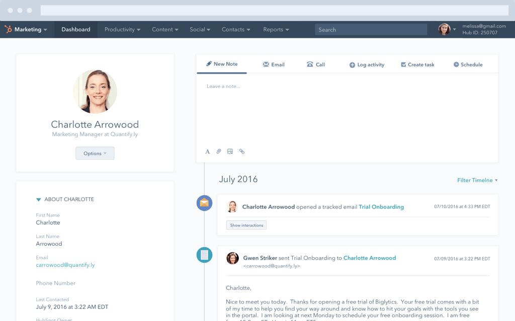 Screenshot of contact management in HubSpot CRM.