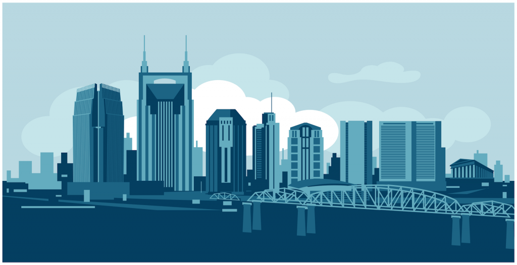Illustration of the Nashville skyline.
